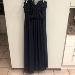 Asos Navy Blue Evening Gown STRAPLESS Size 12
